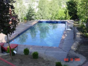 Pool with volleyball net