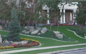 residential landscaping with rocks