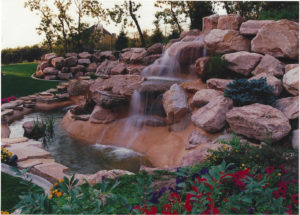 water features over river rocks
