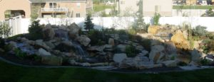 custom waterfall in backyard