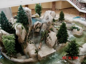 indoor waterfall at business