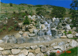 cascading waterfall in backyard