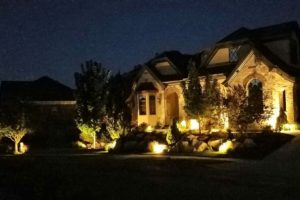 Landscape lighting around house exterior