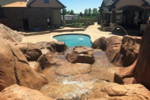 Utah Pool with attached waterfall Rock Feature