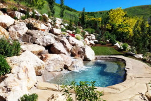 Backyard Waterfall into Custom Pool