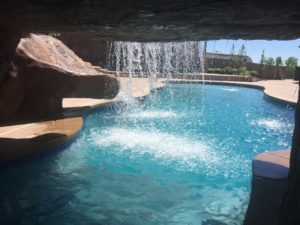 Custom pool with grotto