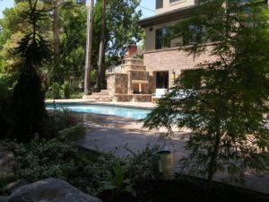 Backyard Fireplace and Swimming Pool