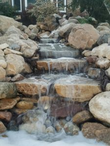 small outdoor waterfall