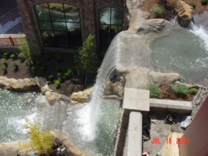 Custom concrete at waterfall
