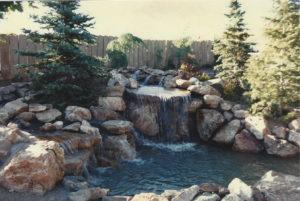 backyard Waterfall and landscaping