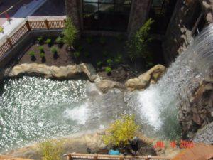 custom waterfall at business