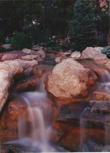 commercial waterfall in landscaping