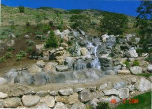 cascading waterfall in backyard