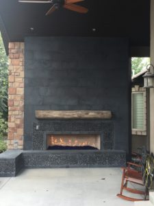 Black stone Fireplace Backyard Porch