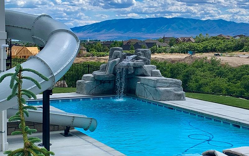 Utah Pool Builders - Custom Pool with slide