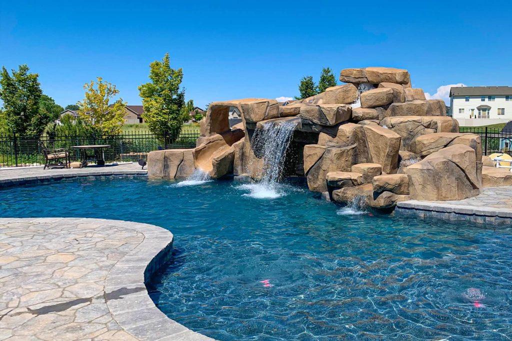 Utah Custom Pool with Pool Waterfall